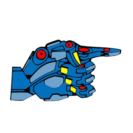 Blue Robot Hand Pointer