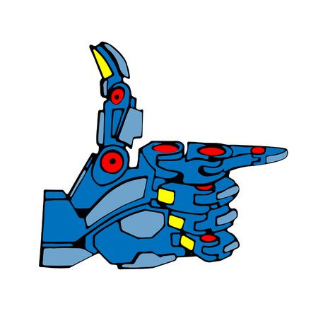 hand gun: Blue Robot Hand Gun Illustration