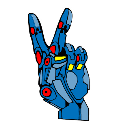 Blue Robot Hand Victory