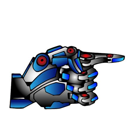 steel: Steel Robot Hand Pointer Illustration