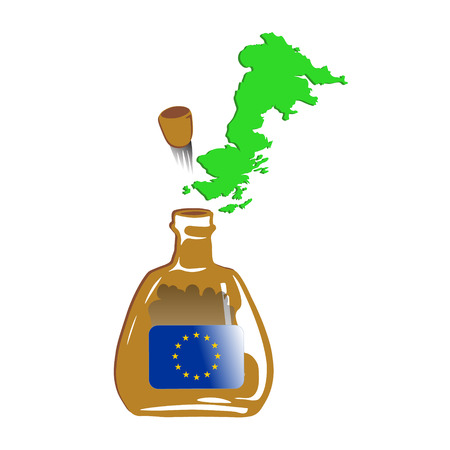 Great Britain Flying out from Brown Euro Bottle width Crowd