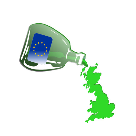 Green Britain Spilling out from Green Euro Bottle Ilustracja
