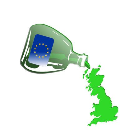 spilling: Green Britain Spilling out from Green Euro Bottle Illustration