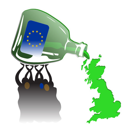spilling: Crowd Spilling Green Britain out from Green Euro Bottle Illustration