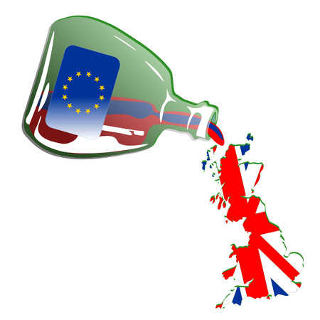 Painted Great Britain Spilling out from Green Euro Bottle