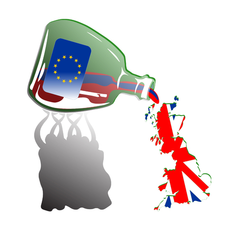 spilling: Crowd Spilling Painted Great Britain out from Green Euro Bottle