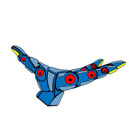 Blue Robot Arm Holding Ilustracja