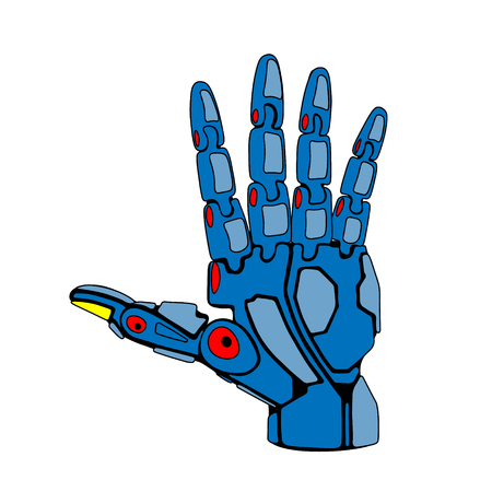 spreaded: Blue Robot Arm Palm Spreaded Illustration