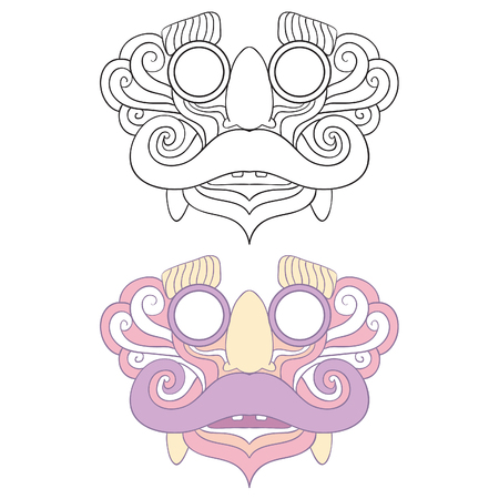 Bali inspire mask, The Mask which created with Pastel Soft Color, acculturate of glasses nose and mustache toys with Bali mask, Great to print as a Mask toys. Black Line Art Version and Color Version