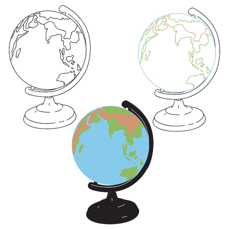 Table Study Earth Globe in Color and Black Line Art
