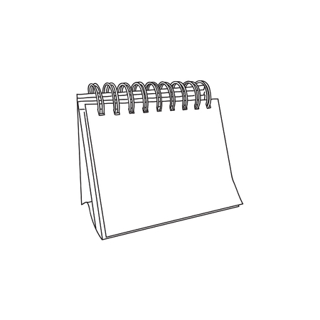Mini Blank White Calendar in Line Art, Calender Bind with Rings, and Blank Page with No Number or Even Months, One Desk Mini Calendar Line Art 向量圖像