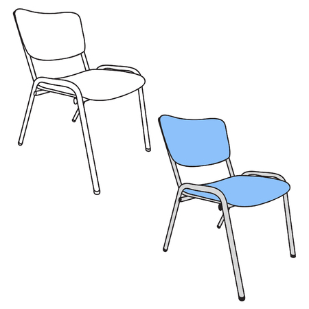 Armless Chair in Black Line Art and Blue Color Version with side view. This Vector Art can be easily change Color from Blue to any color you like. Ilustração