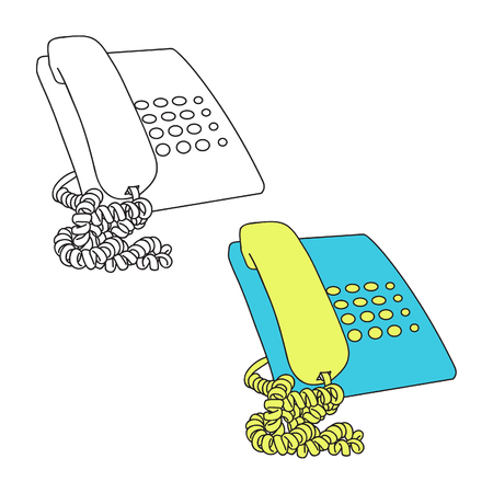 Simple Home Phone with curly Cable attached, with Black Line Art Version and Color version (can easily change color). Home Phone art was draw in Blank Number button. Ilustração