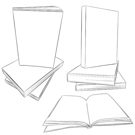Black Line Art Pile of Books, With Blank White style, Good for using for eBook Cover Template Mock up, We can easily design eBook Cover and put it in Blank Line Art, and Easily change Color we want