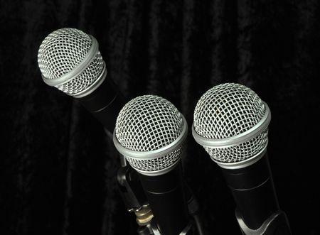 Stage Microphones. Stock Photo