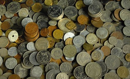 Old and new coins of the world.