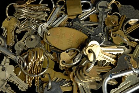 Keys, locks and keyrings. Stock Photo