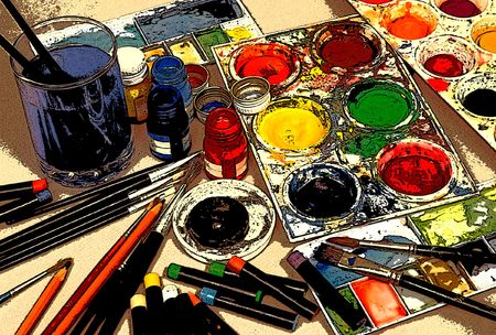 Art materials (Photo enhanced to give drawn effect.)