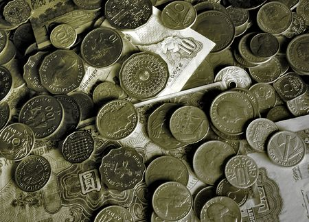 Old world coins and banknotes.