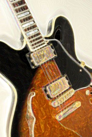 Blues Guitar with Glow Effect Stock Photo