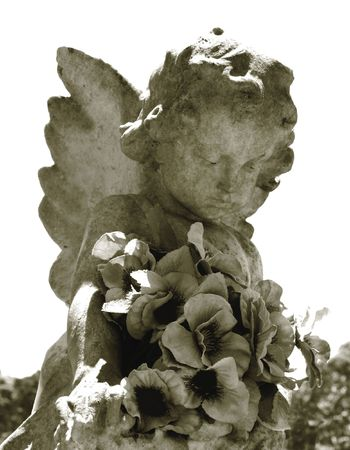 Weathered Angel with Cloth Flowers