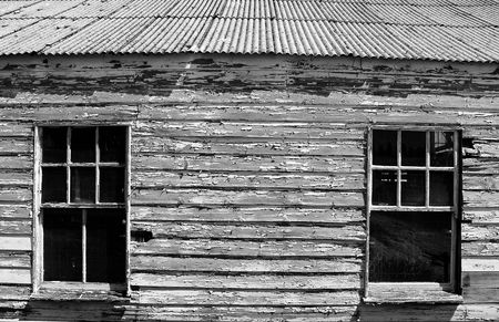 Weathered timber on an old boatshed.