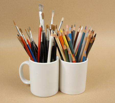 Art Equipment In Jars Stock Photo