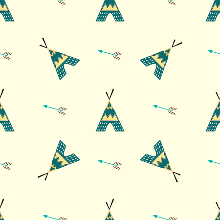 Seamless vector background with teepees and arrows. Illustration