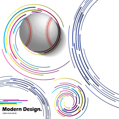Abstract vector baseball ball on modern background.