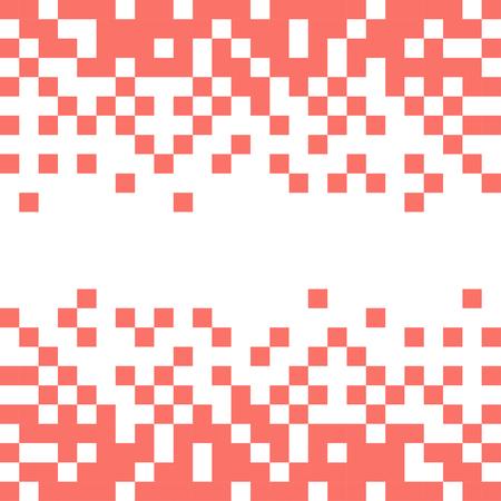 Fondo de vector abstracto con píxeles blancos en color coral vivo.