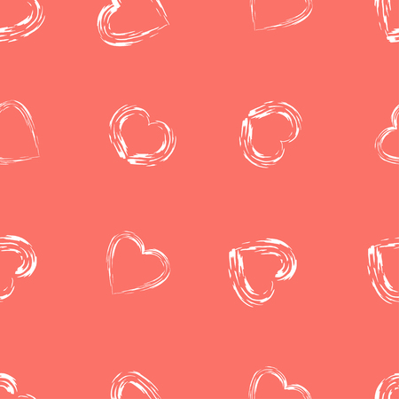 Modern style seamless vector background with hearts in Living Coral color.