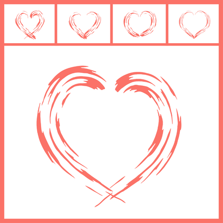 Modern love symbol design in collection of five in Living Coral color. Illusztráció