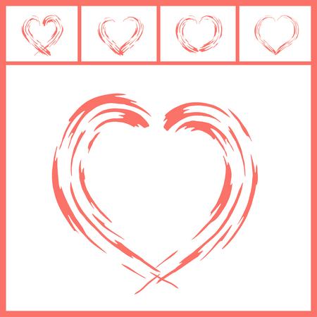Modern love symbol design in collection of five in Living Coral color. Illustration