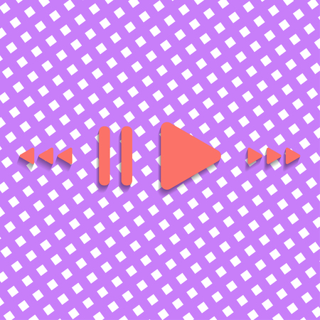 Colorful vector header design with music buttons in trendy color.