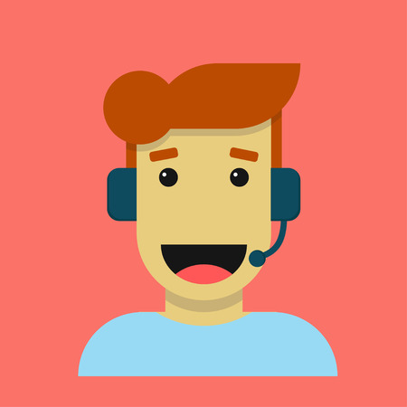 Happy office worker vector cartoon character isolated on coral trend color.