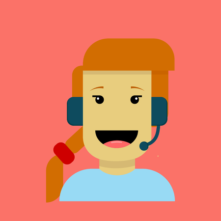 Creative illustration of a young girl cartoon character working as operator.