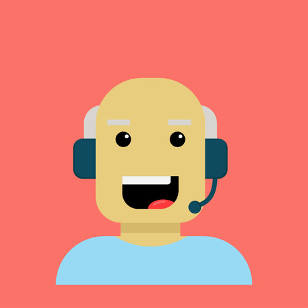 Elderly person cartoon character enjoying his work in communication company.
