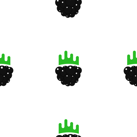 Blackberry flat graphic illustration in cute cartoon style. Creative seamless textile design. Illustration