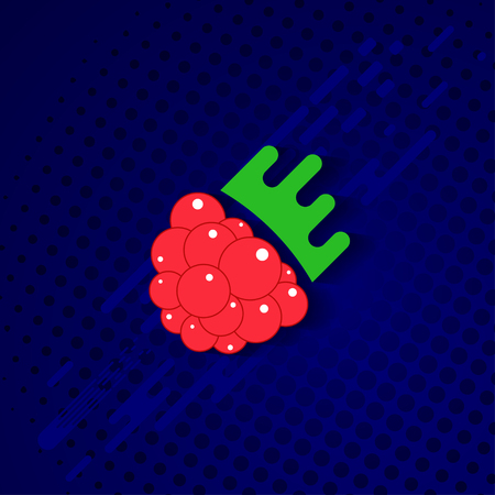 Flat illustration with fresh, ripe raspberry in cute cartoon style on blue background. Vettoriali
