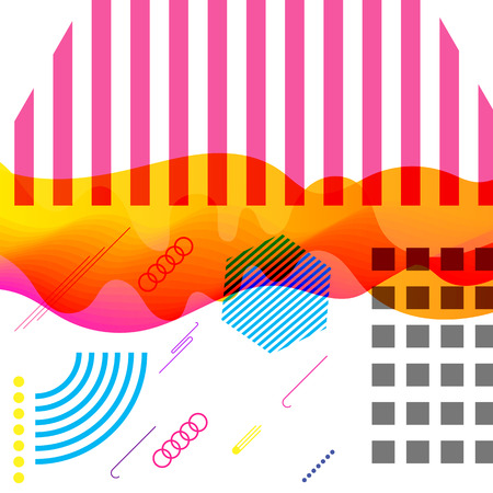 Contemporary style vector colorful image with different graphical objects and waves.
