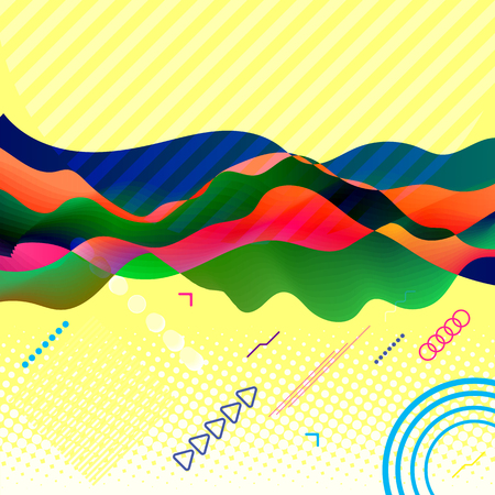 Abstract vector poster with different elements of modern design in contemporary style. Vector Illustration