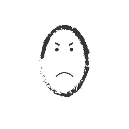 Black and white angry emoticon vector drawing.