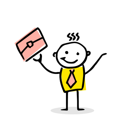 Happy busyness man in cartoon style. Creative vector illustration. Illustration