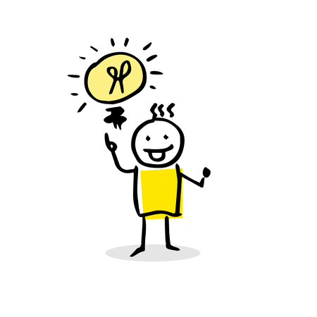 Stick figure with an idea. Vector illustration with bulb and person in cartoon style. Vettoriali