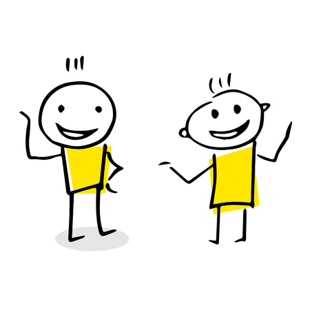 Free hand vector drawing of two people talking. Illustration