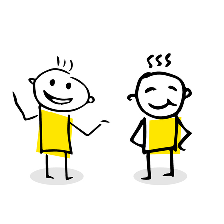 Illustration of two people talking to each other. Illustration