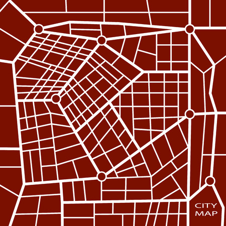 gridlock: Abstract dark red road map in vector