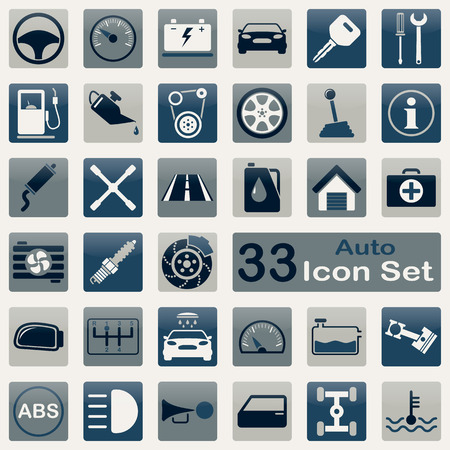Auto icon set for app and web design