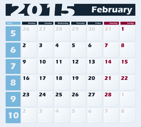 Calendar 2015 February vector design template. Week starts with Monday. European version Vector