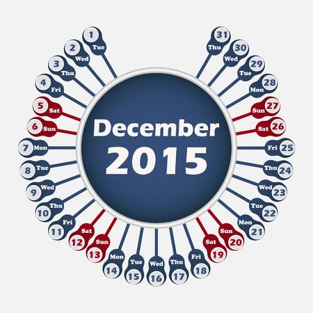 red ribbon week: Vector rounded calendar 2015 December template for design